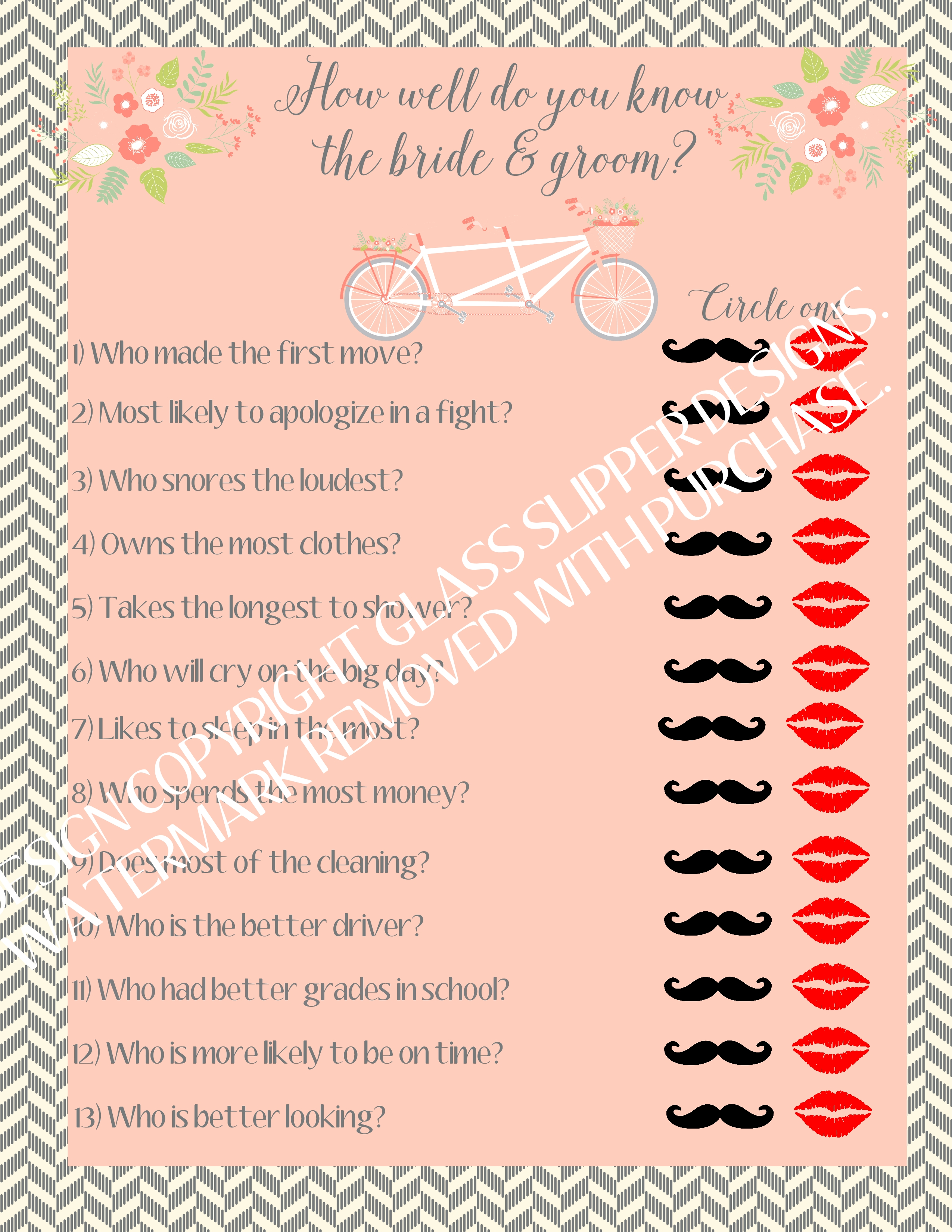 couples quiz bridal shower game