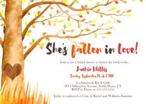 fall watercolor bridal shower invite