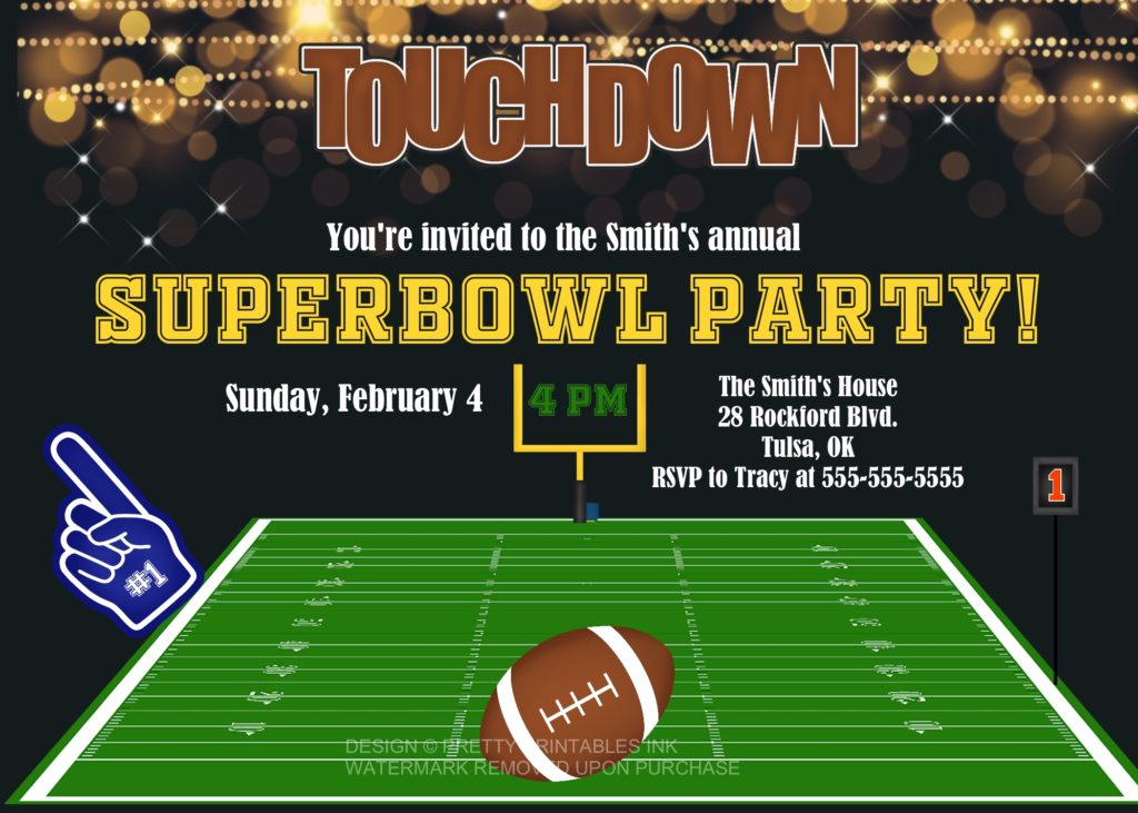 It is a photo of Shocking Super Bowl Party Invitations Free Printable