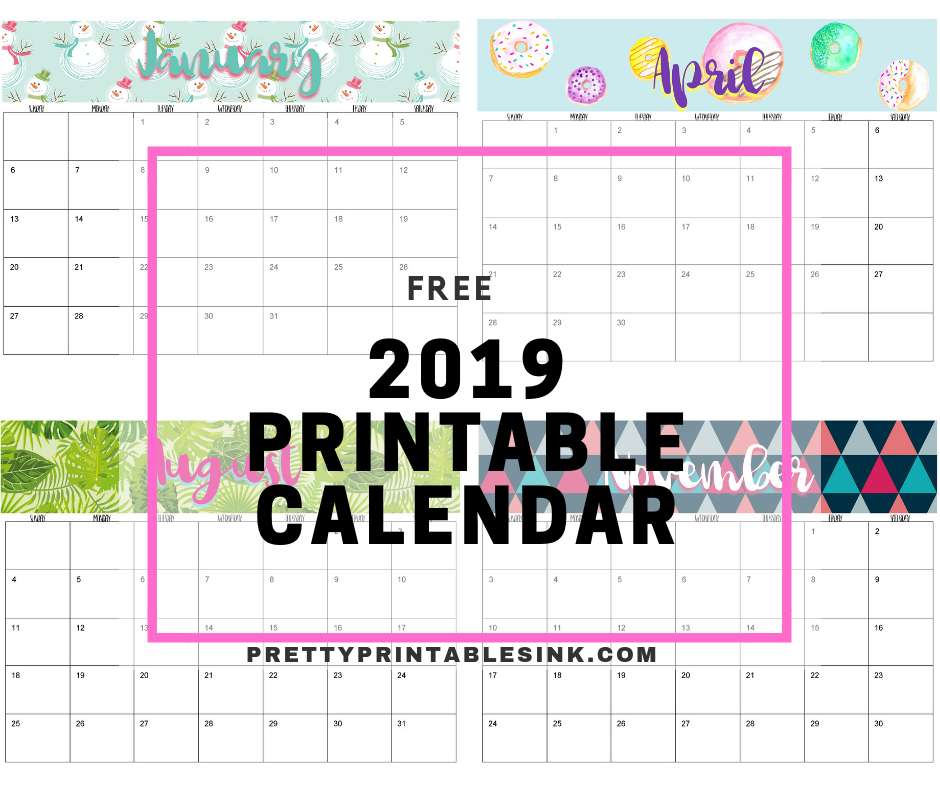 graphic relating to Pretty Printable Calendar named Freebie Friday: 2019 Printable Calendar Wonderful Printables Ink